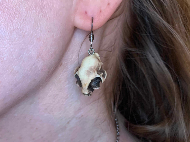 Cat Skull Goth Earrings