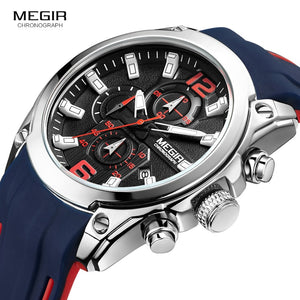 Men's Chronograph Analog Quartz Watch with Date, Luminous Hands, Waterproof Silicone Rubber Strap