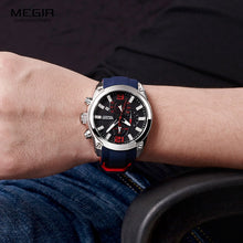 Load image into Gallery viewer, Men's Chronograph Analog Quartz Watch with Date, Luminous Hands, Waterproof Silicone Rubber Strap