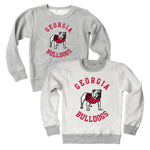 UGA Georgia Bulldogs Wes & Willy Toddler Reversible Crew Sweatshirt - Gray