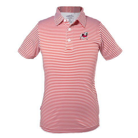 UGA Georgia Bulldogs Youth Striped Standing Bulldog Polo