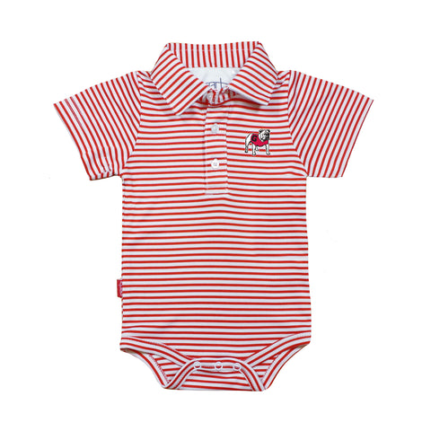 UGA Infant Striped Polo Snap-Bottom One Piece - Red and White