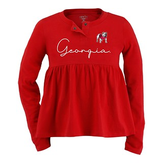 Georgia Bulldogs Girl's Toddler Long-Sleeve Peplum Top - Red
