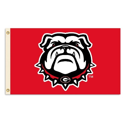 UGA Georgia Bulldogs 3x5 Flag - Red