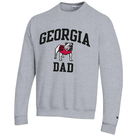 UGA Champion GEORGIA DAD Crew Sweatshirt - Gray