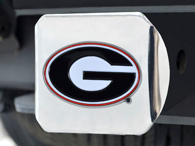 UGA Georgia Bulldogs Oval G Hitch Cover - Chrome with Red & Black