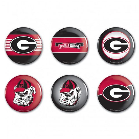 UGA Georgia Bulldogs Pin-Back 6 Button Set