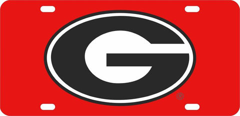 UGA Georgia Oval G Car Tag - Red