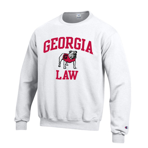 UGA Champion GEORGIA LAW Crew Sweatshirt - White