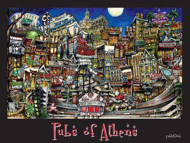 Pubs Of Athens, Georgia Poster - Black