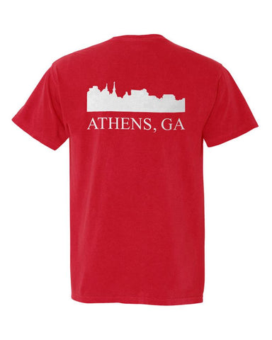 Athens, Georgia Comfort Colors Skyline T-Shirt - Red