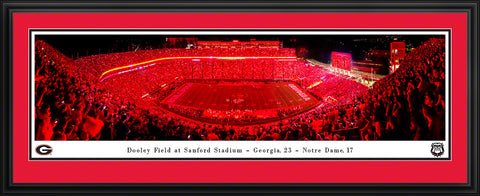 UGA Panoramic Framed & Matted Poster Print - Georgia vs. Notre Dame 2019