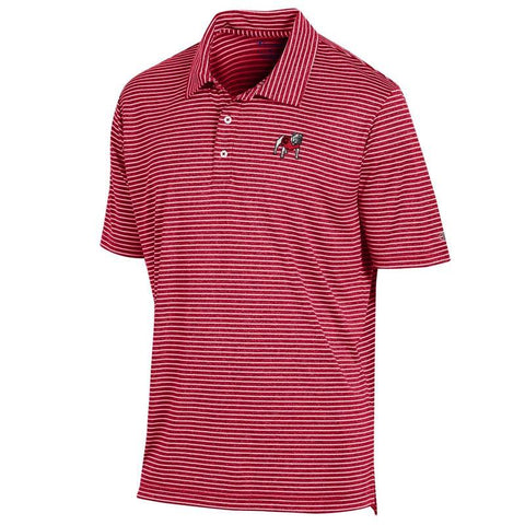 UGA Georgia Bulldogs Champion Standing Bulldog Striped Polo - Red