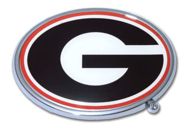 UGA Georgia Bulldog Chrome Red and Black Oval G Auto/Car Emblem