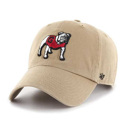 UGA Georgia Bulldogs 47 Brand Adjustable Standing Bulldog Cap - Khaki