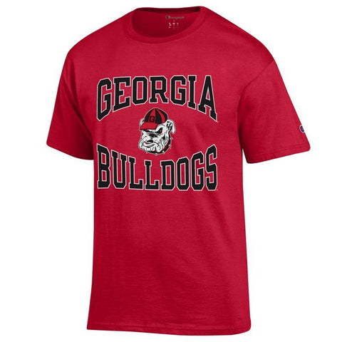 UGA Georgia Bulldogs & Old Bulldog Head Logo Champion T-Shirt - Red