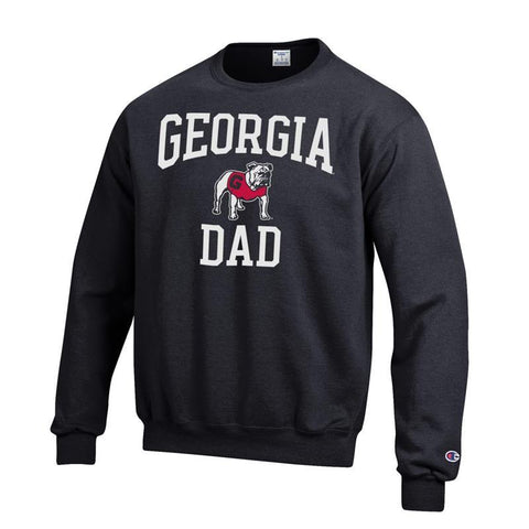 UGA Champion GEORGIA DAD Crew Sweatshirt - Black