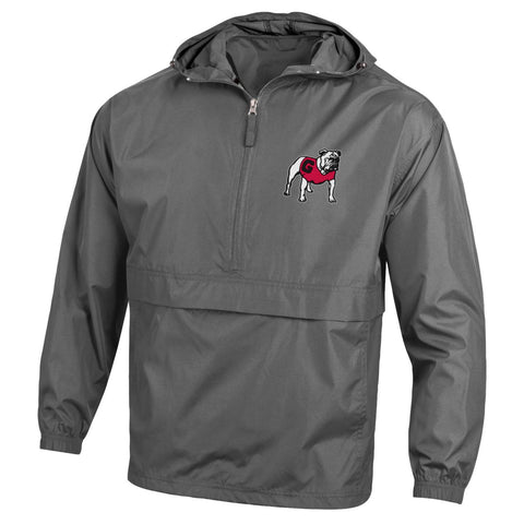 UGA Georgia Bulldogs Champion Hooded Rain Wind Jacket - Charcoal