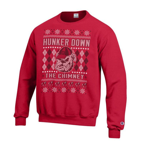 UGA Champion Hunker Down The Chimney Ugly Christmas Sweatshirt - Red