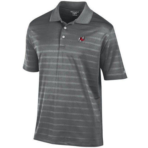 UGA Georgia Bulldogs Champion Striped Tonal Polo - Charcoal
