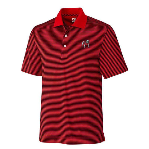 UGA Georgia Bulldogs Cutter & Buck Striped Polo - Red & Black