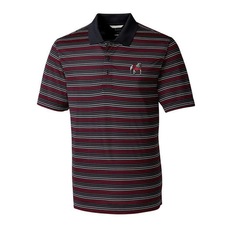 UGA Georgia Bulldogs Cutter & Buck Striped Polo - Black, Red, & White