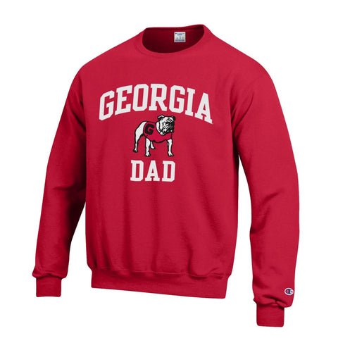 UGA Champion GEORGIA DAD Crew Sweatshirt - Red