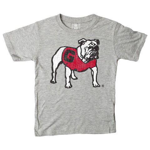 UGA Georgia Bulldogs Wes & Willy Toddler Standing Bulldog T-Shirt - Gray