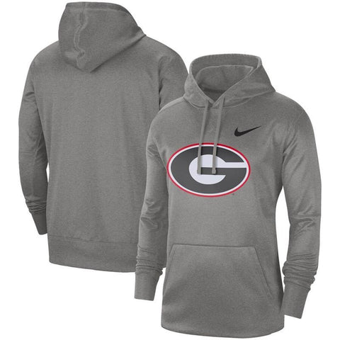 UGA Nike Oval G Logo Performance Pullover Hoodie - Gray