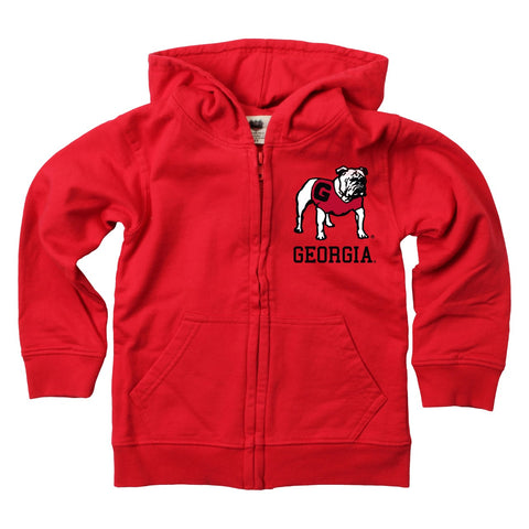 UGA Wes & Willy Full Zip Standing Bulldog Sweatshirt - Red