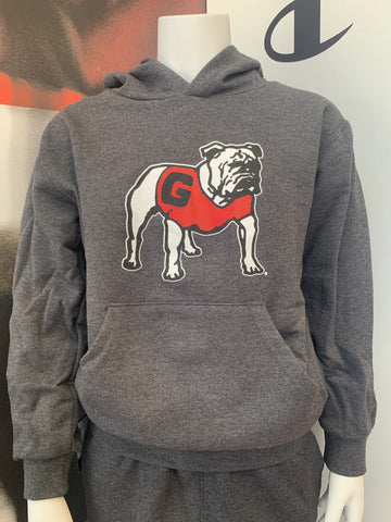 Georgia Youth Standing Dog Hoodie - Charcoal