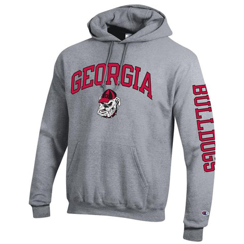 UGA Champion GEORGIA Old Bulldog Head Hoodie - Gray