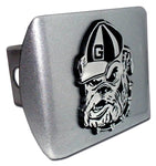 UGA Brushed Chrome Hitch Cover Bulldog