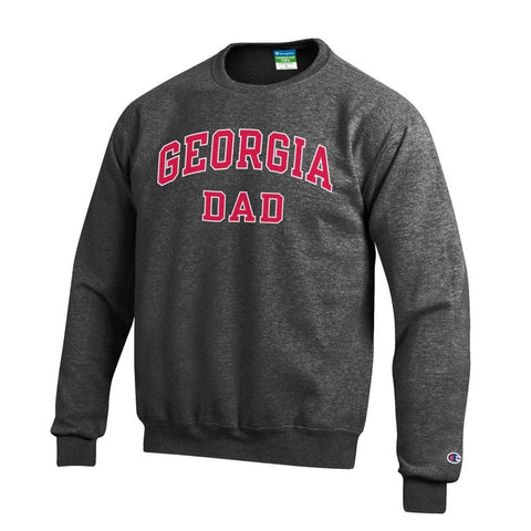 UGA Bulldogs Champion GEORGIA DAD Crew Sweatshirt - Charcoal