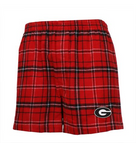 UGA Georgia Bulldogs Flannel Plaid Boxer Shorts