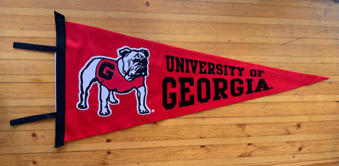 UGA Georgia Bulldogs Wool Felt Pennant - Red w/ Standing Bulldog