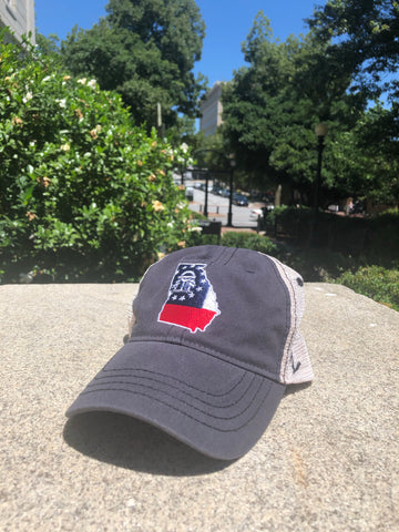 Zephyr Georgia State Flag in Outline Trucker Hat - Navy