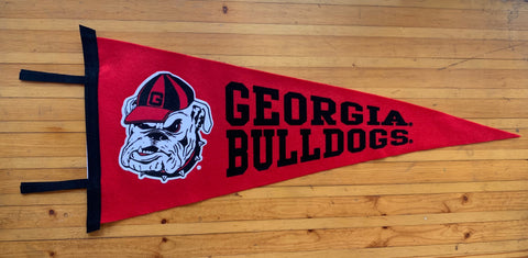 UGA Georgia Bulldogs Wool Felt Pennant - Red w/ Old Bulldog Head