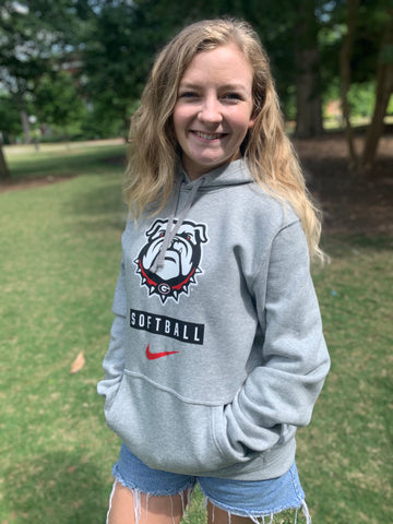 UGA Georgia Bulldogs Nike Softball Club Fleece Hoodie - Gray