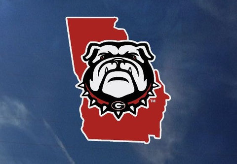 UGA Georgia Bulldogs New Dog Head Logo In State Ouline Decal