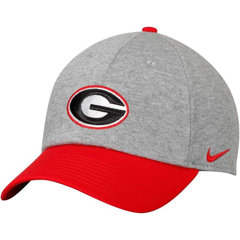 UGA Georgia Bulldogs Nike Cotton Oval G Cap - Heather Gray