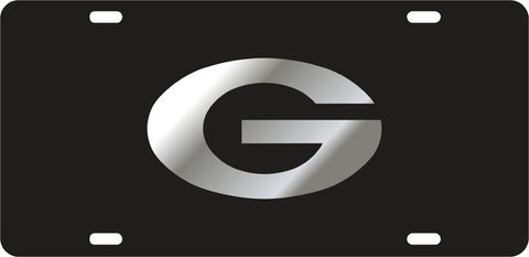 UGA Georgia Mirror Oval G Car Tag - Black