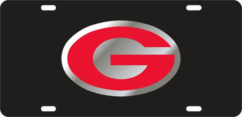 UGA Georgia Red Oval G Car Tag - Black