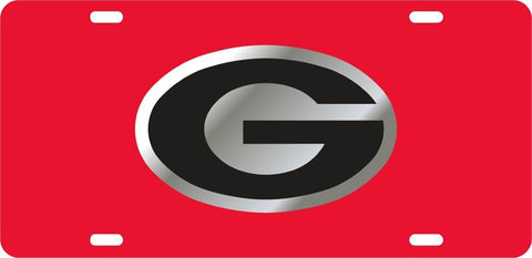 UGA Georgia Black Oval G Car Tag - Red