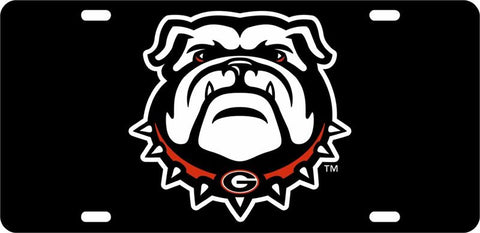 UGA Georgia Bulldogs Car Tag - Black
