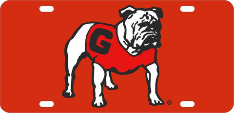 UGA Georgia Standing Bulldog Car Tag - Red