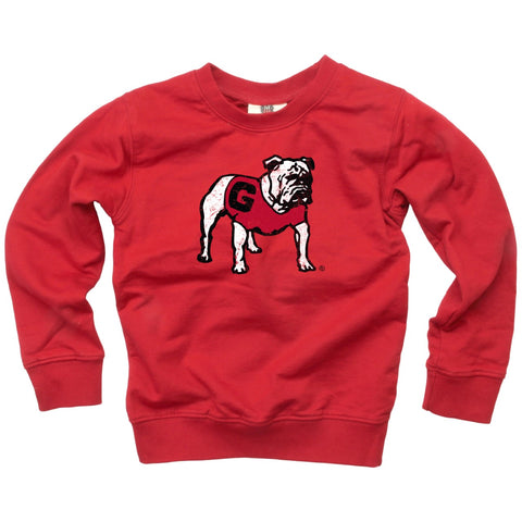 UGA Georgia Bulldogs Toddler Standing Bulldog Crew Sweatshirt - Red