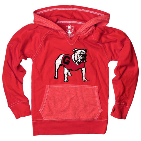 UGA Georgia Bulldogs Youth Standing Bulldog Lightweight Hoodie - Red