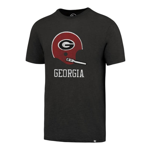 UGA Georgia Bulldogs 47 Brand Retro Football Helmet T-Shirt - Charcoal