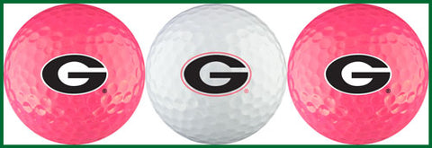 UGA Georgia Bulldogs 3-Pack Golf Ball Gift Set - Pink & White